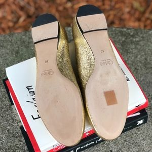 Chloe Shoes - Chloe LAURA Scallop Ballet Flats Gold Leather, 40